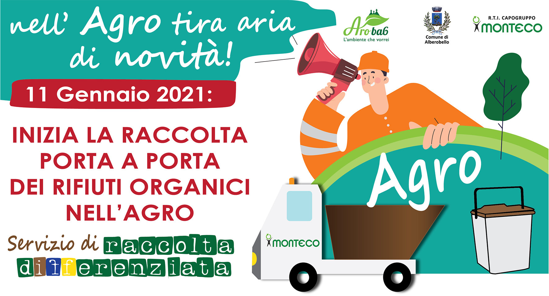 nuovo servizio di raccolta porta a porta dei rifiuti organici nell'Agro