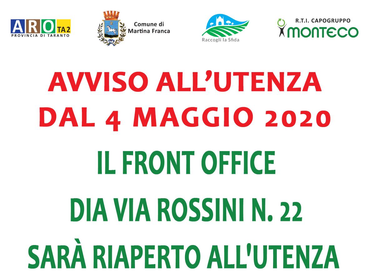 Martina Franca. Riapertura Front Office di via Rossini civ. 22