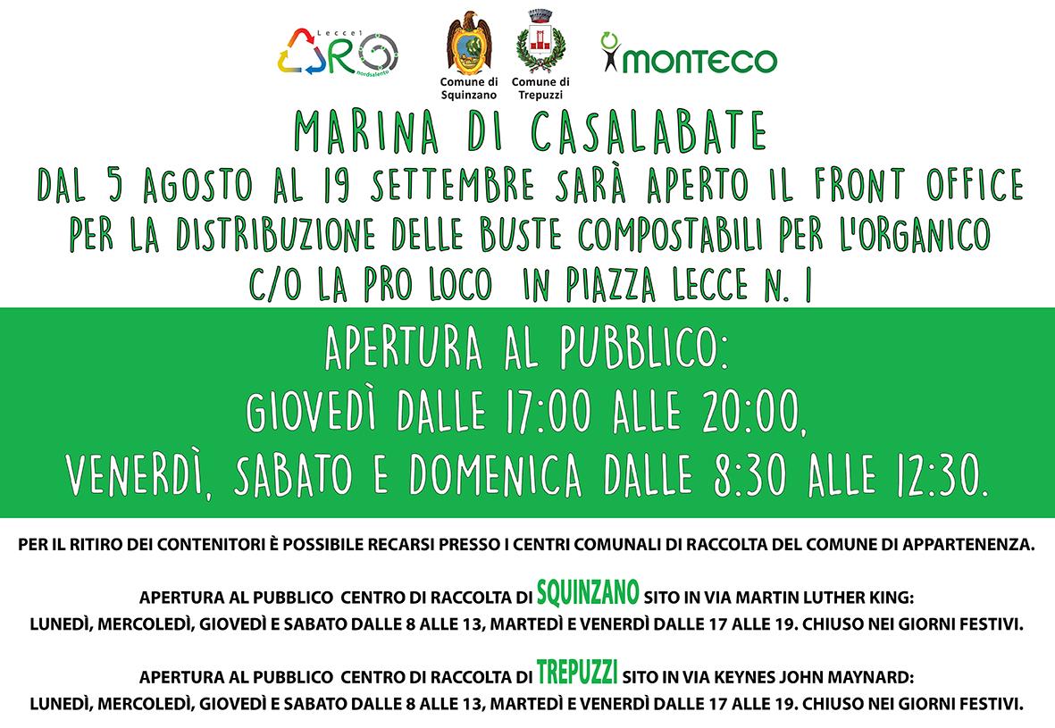 Casalabate: dal 5 agosto 2021 apre il Front Office per la distribuzione delle buste compostabili