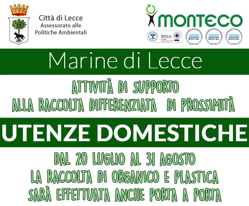 Lecce. Partirà il prossimo luglio un servizio di raccolta porta a porta di organico e plastica per le utenze domestiche nelle Marine leccesi